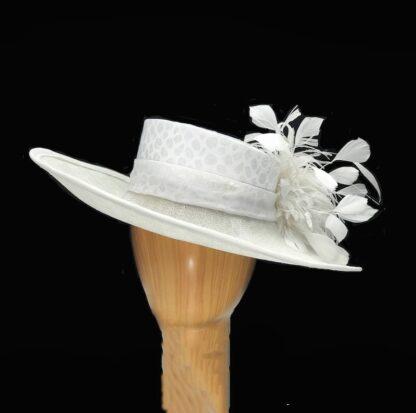 white silk and sinamay hat
