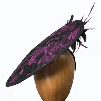 Black purple fascinator