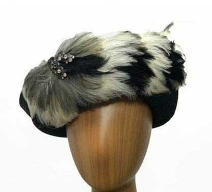 Black wool feathered hat