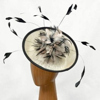 Designer ivory and black fascinator
