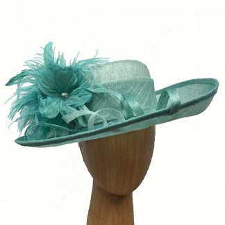 large turquoise derby hat
