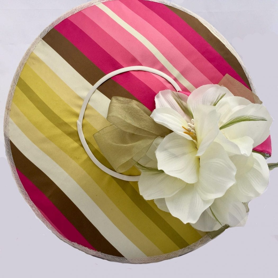 Large Silk Fascinator Pink Striped Fabric Fascinator Fascinated By
