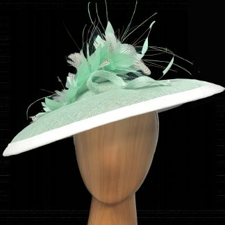 large mint green fascinator