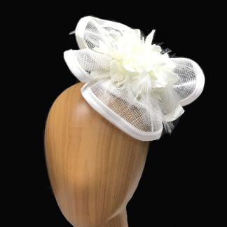 white free form fascinator.