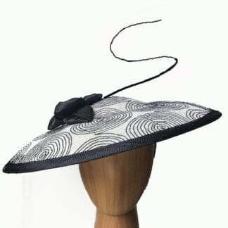 "ivory with black ""Saucer"" fascinator"