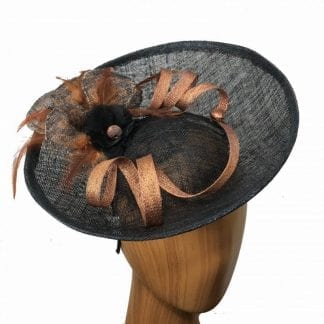 black and copper fascinator