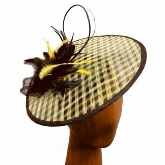 lemon yellow black fascinator