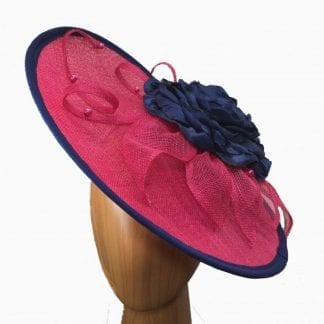 dark pink navy fascinator