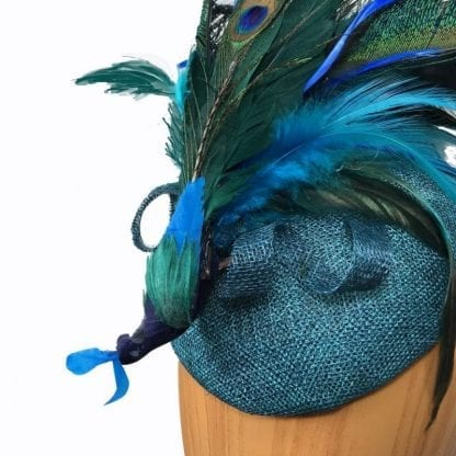 teal blue peacock fascinator