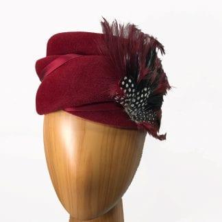 deep red pillbox hat