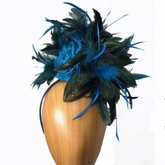 Turquoise-Black-Feathered-fascinator.