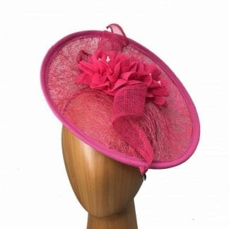 rose pink meshed fascinator