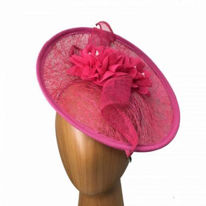 rose pink meshed fascinator