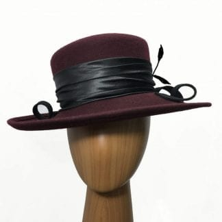 Large wool burgundy hat