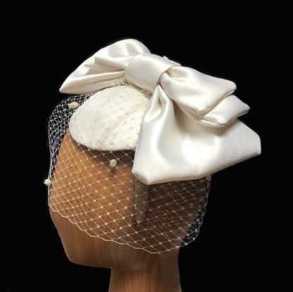 veiled ivory satin bow fascinator