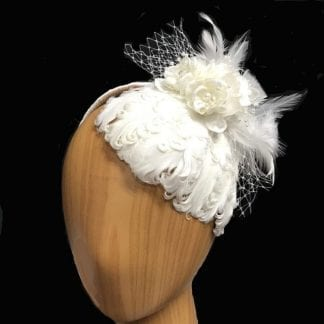 small white feathers fascinator