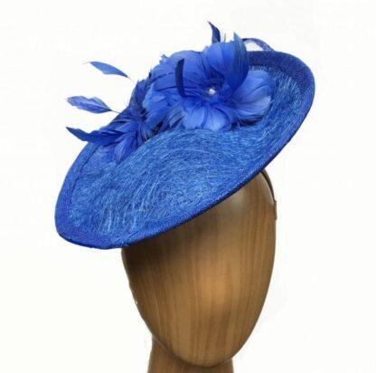 "royal blue ""cobweb"" fascinator"
