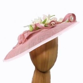 "large peach ""Saucer"" fascinator"