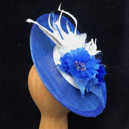 royal blue and white fascinatorf
