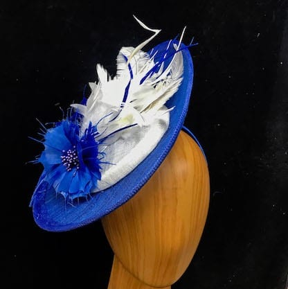 royal blue white fascinator
