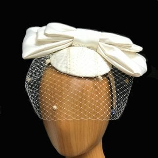 veiled ivory satin bow fascinator
