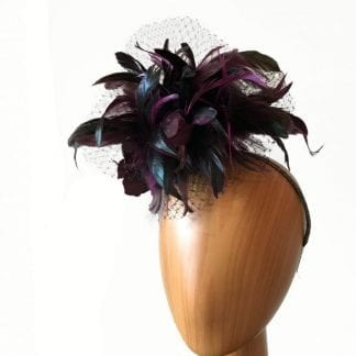 black burgundy feathered fascinator