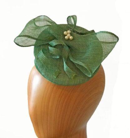 green asymmetric pillbox hat