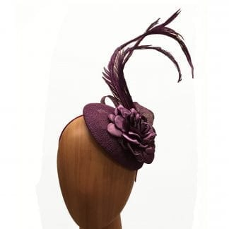"""small purple """"button"""" fascinator"""