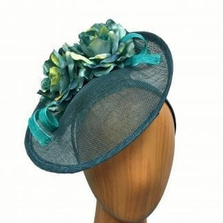 teal flower fascinator