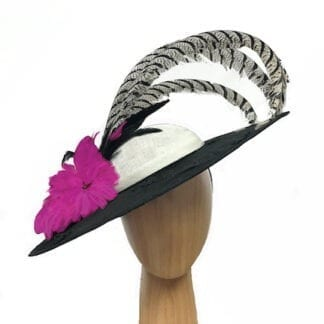 XL black white fascinator
