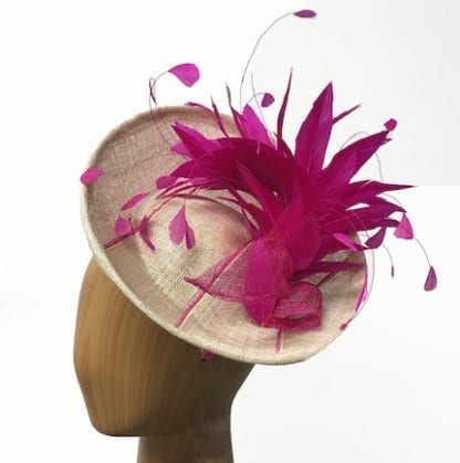 fuchsia natural striped fascinator