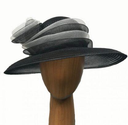 black white crinoline hat