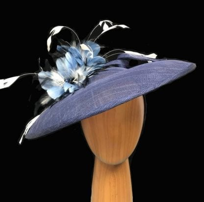 navy blue feathered fascinator