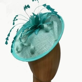 aqua fascinator feather flowers