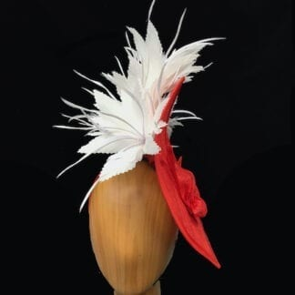 Poppy orange white fascinator