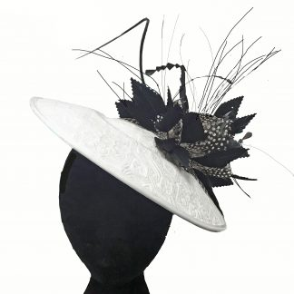 White Black Saucer fascinator