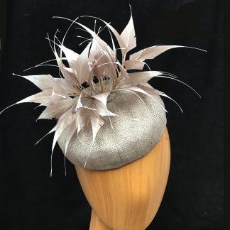 taupe/grey pillbox hat