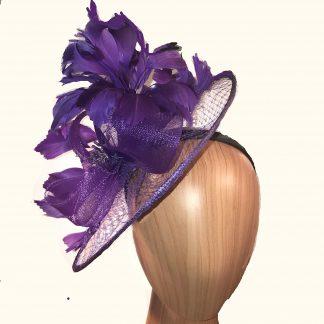purple feather veil fascinator