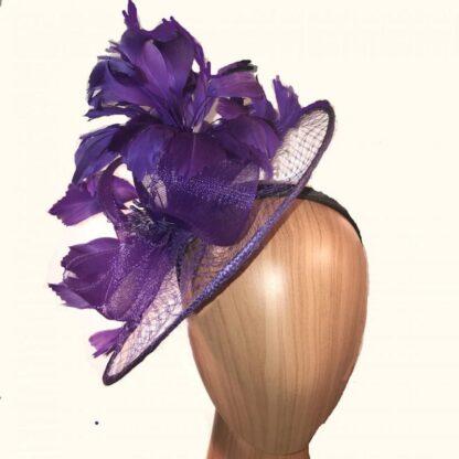 purple-feather-veil-fascinator