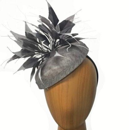 grey pill box hat