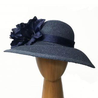 navy metallic thread hat