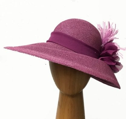 dark pink metallic hat