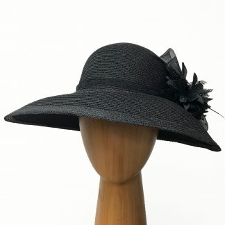black metallic thread hat