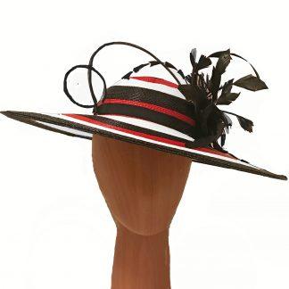 red white black hat