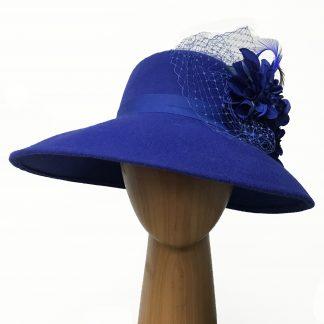 Blue Asymmetric Wool hat