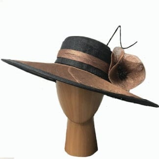 Copper and black dress hat