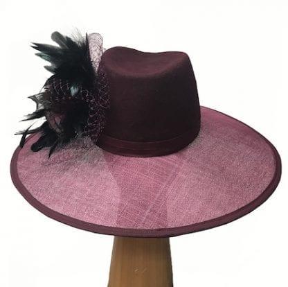 Wine wool crown hat