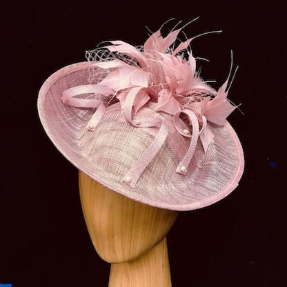 Blush pink feathered fascinator