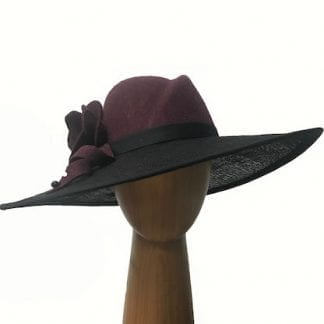 burgundy black wool hat