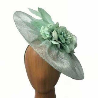 mint green gathered fascinator